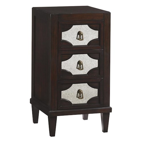 Lexington Kensington Place Transitional Lucerne Mirrored Nightstand with Three Drawers