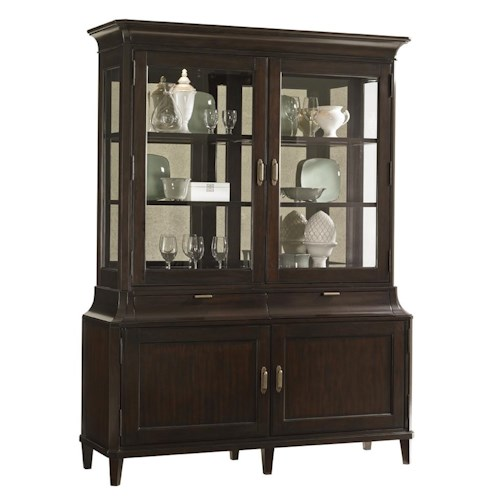 Lexington Kensington Place Transitional Grove Park Display Cabinet with Antique Mirror Back and Touch Lighting