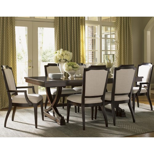 Lexington Kensington Place Seven Piece Dining Set with Chairs Upholstered in Odessa Fabric