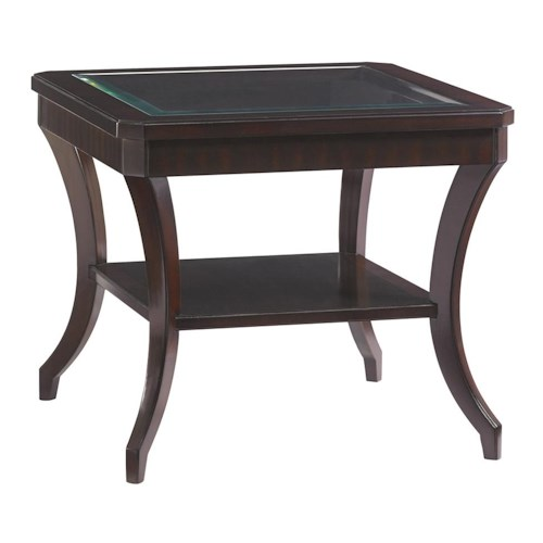 Lexington Kensington Place Transitional Hillcrest Lamp Table with Beveled Glass Top