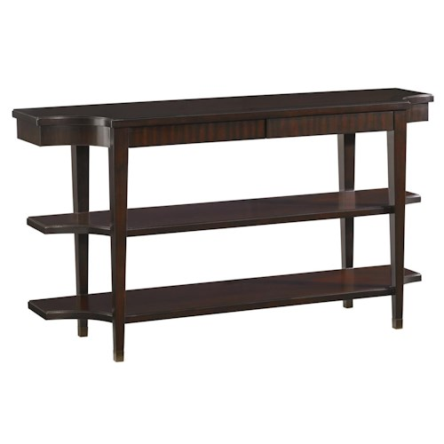 Lexington Kensington Place Transitional Blakeney Two-Shelf Console Table with Two Drawers