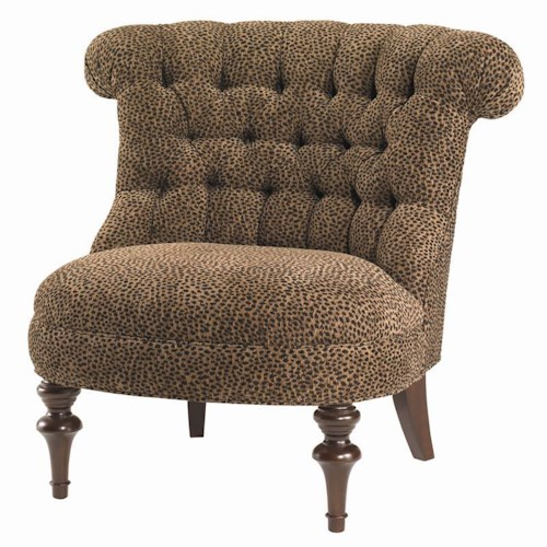 Lexington Lexington Upholstery Xavier Tufted Back Chair with Exposed Wood Legs