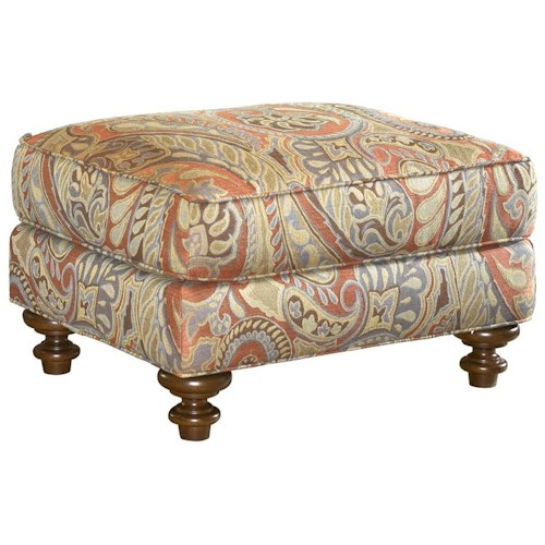 Lexington Lexington Upholstery Traditional Styled Elton Accent Ottoman with Exposed Wood Feet