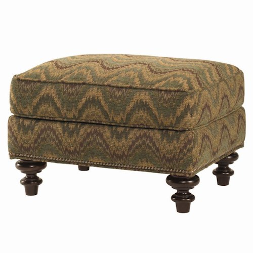 Lexington Lexington Upholstery Darby Ottoman with Exposed Wood Feet and Semi-Attached Top