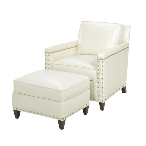 Lexington Lexington Leather Contemporary Chase Chair and Ottoman with Ornamental Nailheads