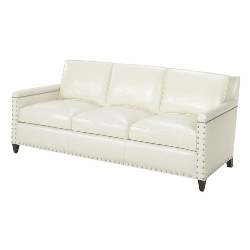 Lexington Lexington Leather Contemporary Chase Sofa with Ornamental Nailheads