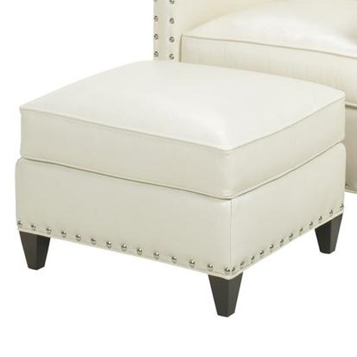 Lexington Lexington Leather Contemporary Chase Ottoman with Nailhead Studs