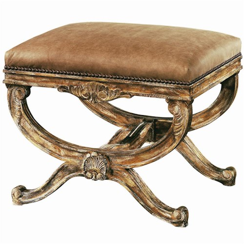Lexington Lexington Leather Cameron Ottoman with Carved Wood Base and Nailhead Trim