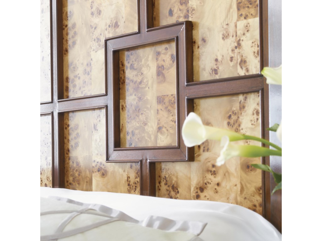 Headboard Features Decorative Fretwork Over Reversible Mappa Burl or Quartered Walnut Panels