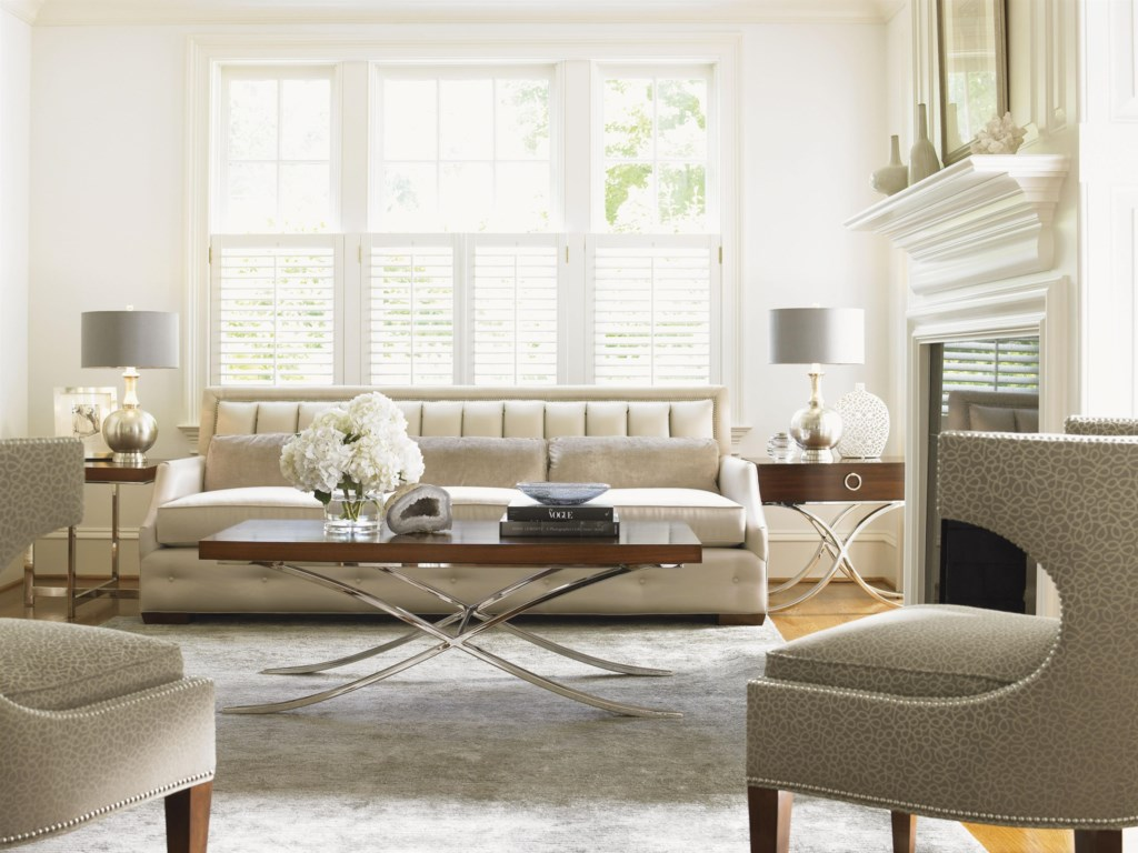 Shown with Greta Chairs, Hayworth Lamp Table, Stanwyck Glass Top Accent Table, and Audrey Sofa
