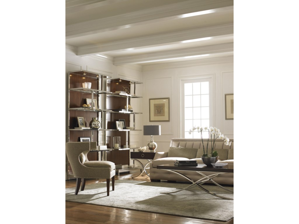 Shown with Kelly Bookcases, Greta Chair, Audrey Leather Sofa and Hayworth Lamp Table