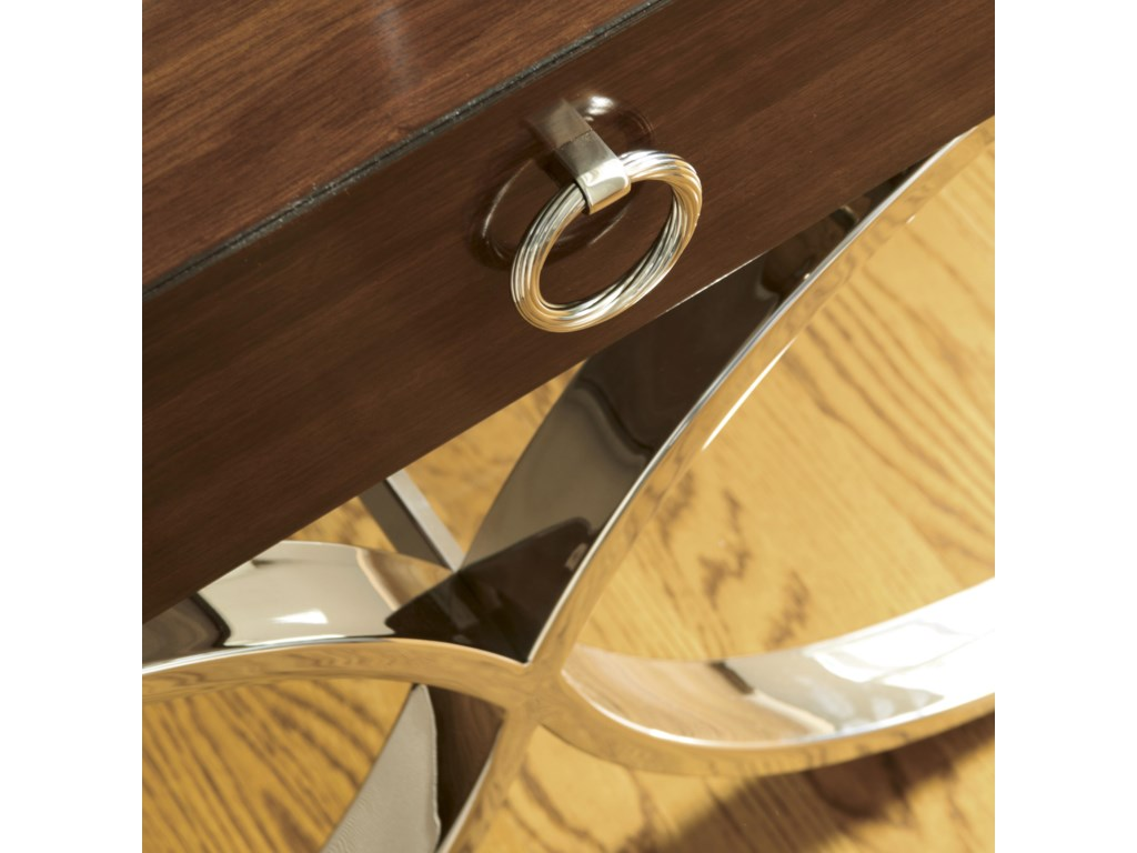 Detail of Stainless Polished Nickel Legs and Ring Handle