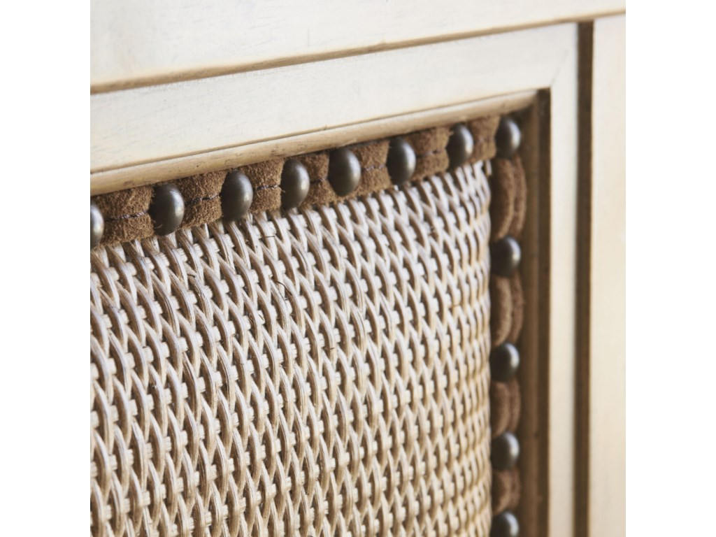 Detail of Natural Looking Woven Rattan with Decorative Leather Welting and Bronze Nailhead Trim