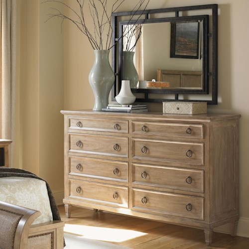Lexington Monterey Sands Hollister Eight-Drawer Dresser & Salinas Mirror with Metal Frame
