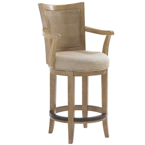 Lexington Monterey Sands Carmel Woven Split Rattan Back Swivel Counter Stool