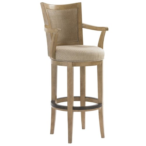 Lexington Monterey Sands Carmel Woven Split Rattan Swivel Bar Stool