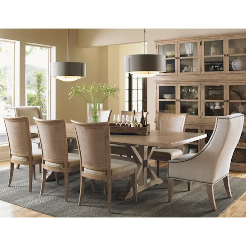 Lexington Monterey Sands Seven-Piece Walnut Creek Dining Table with Stonepine Chair and Los Altos Side Chair Set