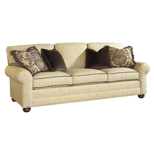 Lexington Personal Design Series Customizable Three Seat Norwood Sofa with Pleated Arms and Wood Bun Feet