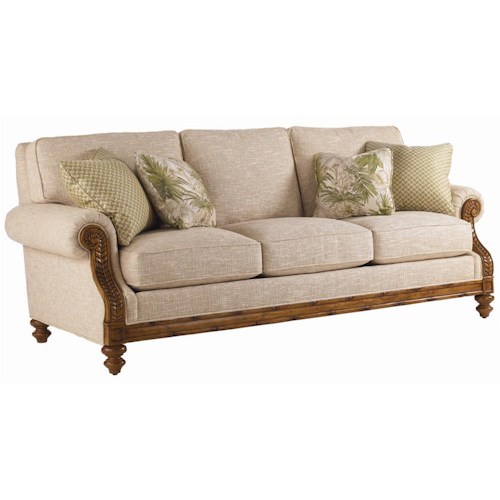 Lexington Quick Ship Upholstery Quick Ship West Shore Sofa with Exposed Wood Accents