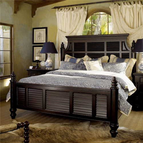 Tommy Bahama Home Kingstown King-Size Malabar Panel Bed with Shutter Headboard & Footboard