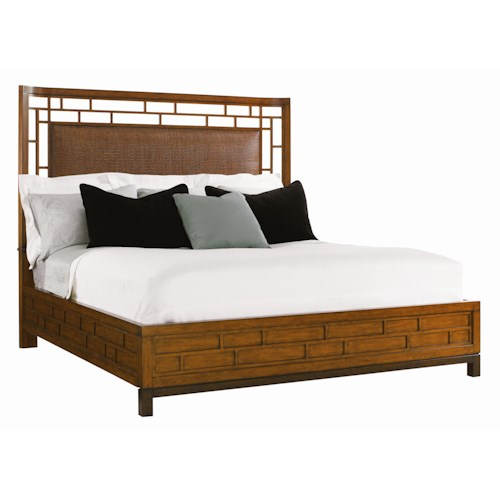Tommy Bahama Home Ocean Club King-Size Paradise Point Bed with Wood Framed Woven Rattan Panel