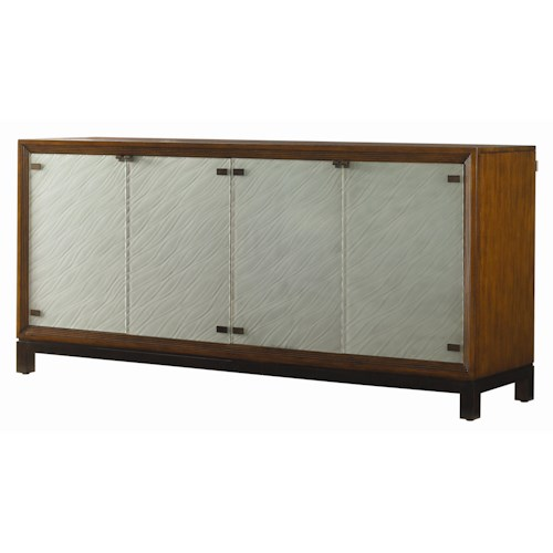 Tommy Bahama Home Ocean Club Sea Glass Buffet with Four Sand Blasted Glass Doors
