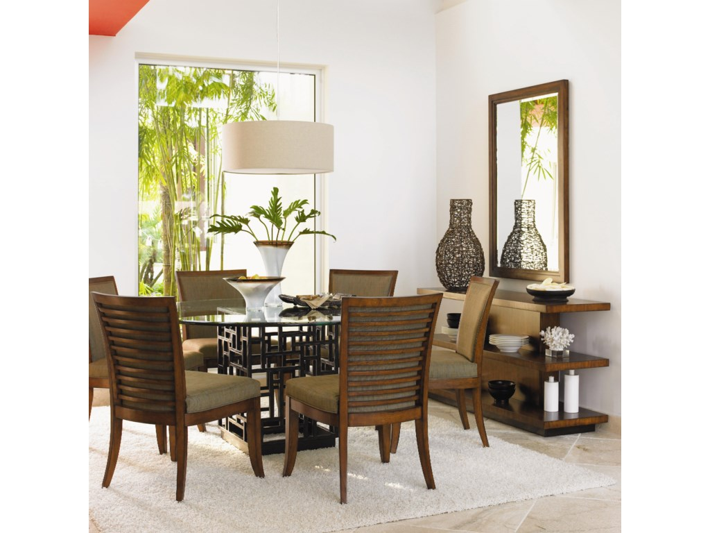 Shown with Kowloon Side Chairs, Lagoon Sofa Table, and Somerset Mirror
