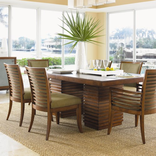 Tommy Bahama Home Ocean Club 7 Piece Peninsula Dining Table & Kowloon Chair Set