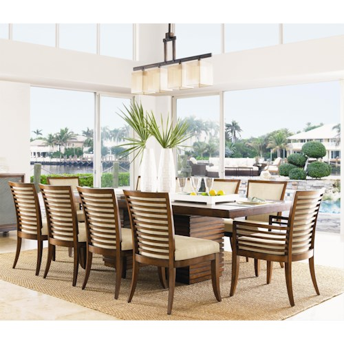 Tommy Bahama Home Ocean Club 11 Piece Peninsula Dining Table & Kowloon Chair Set