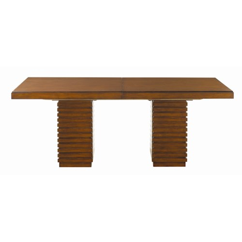 Tommy Bahama Home Ocean Club Double Pedestal Peninsula Dining Table