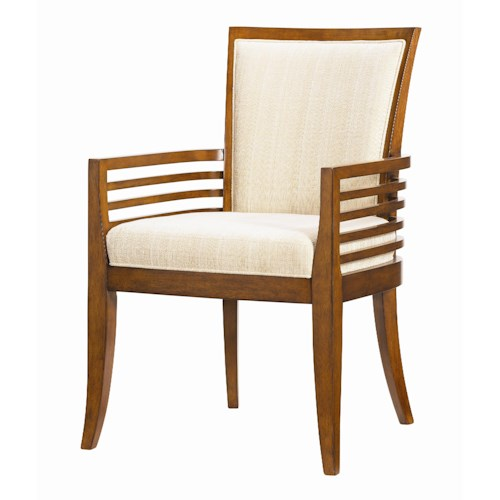Tommy Bahama Home Ocean Club <b>Customizable</b> Kowloon Arm Chair with Horizontal Slats