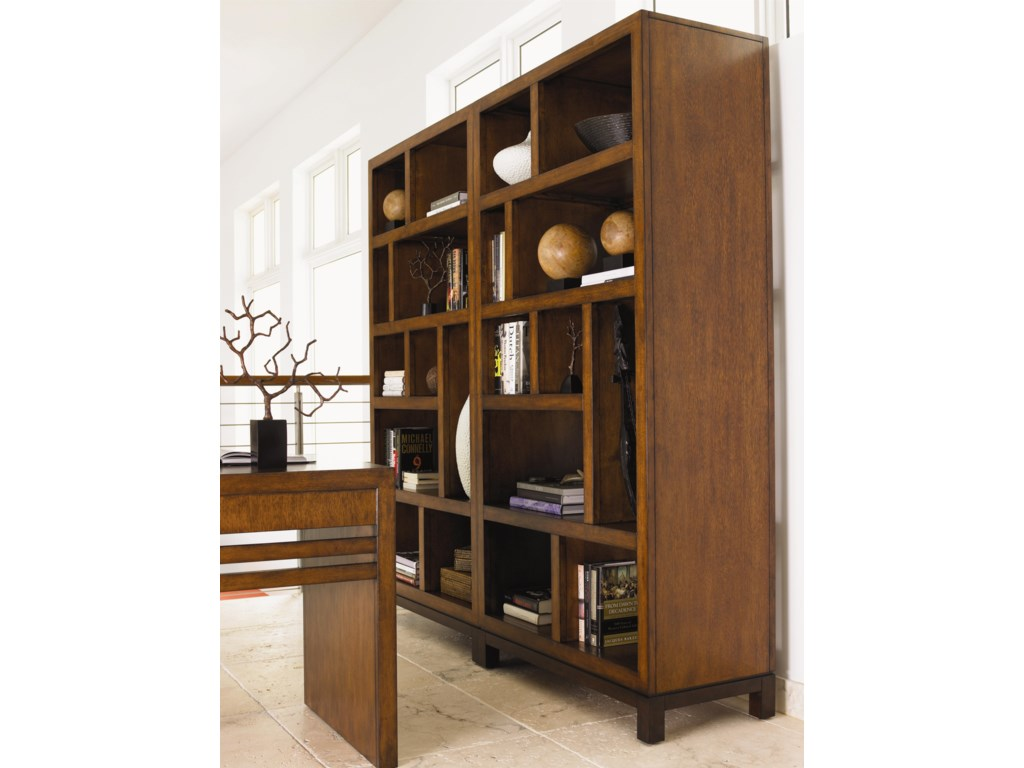 Two Tradewinds Bookcases Shown with Sunset Key Writing Desk