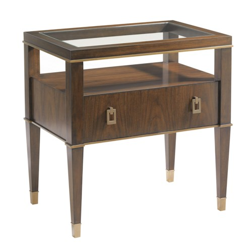 Lexington Tower Place Contemporary Copley Nightstand with Open Storage and Glass Top