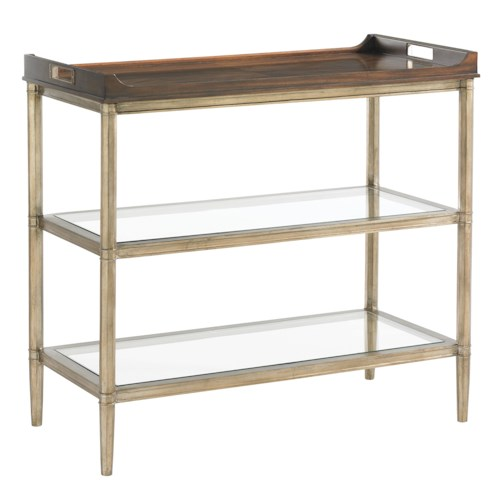 Lexington Tower Place Contemporary Bartlett Tiered Server with Wood Tray and Clear Glass Shelves