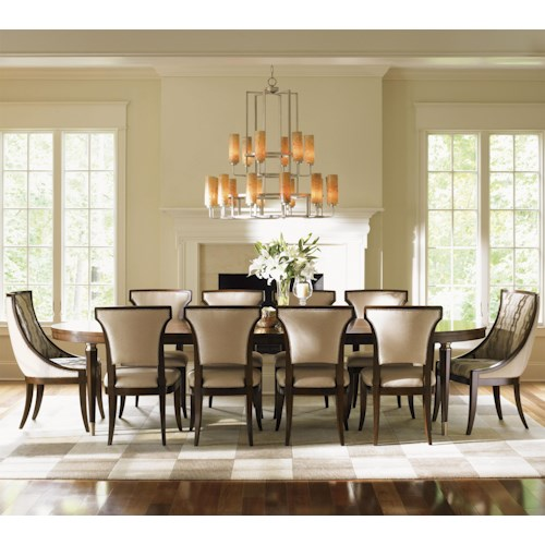 Lexington Tower Place 11 Piece Formal Dining Set with Customizable Host Chairs and Married Fabric Sidechairs