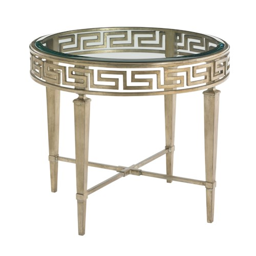 Lexington Tower Place Contemporary Aston Round Lamp Table with Greek Key Motif