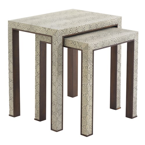 Lexington Tower Place Contemporary Adler Nesting Tables with Python Embossed Leather