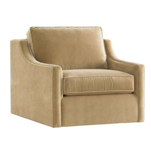 Lexington Tower Place Contemporary Bartlett Swivel Chair with Sloped Track Arms