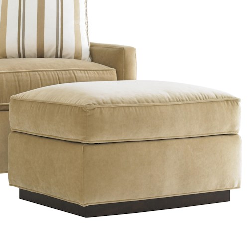Lexington Tower Place Contemporary Bartlett Ottoman with Exposed Wood Base