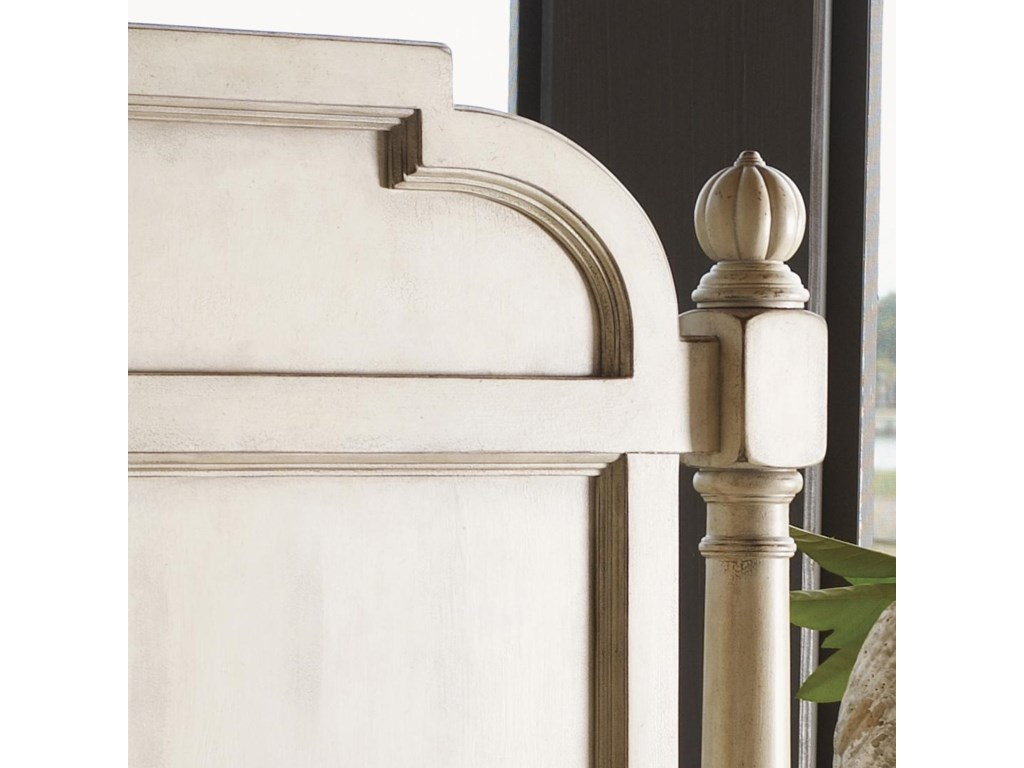 Shaped Panel Headboard and Beautiful Post with Round Finial