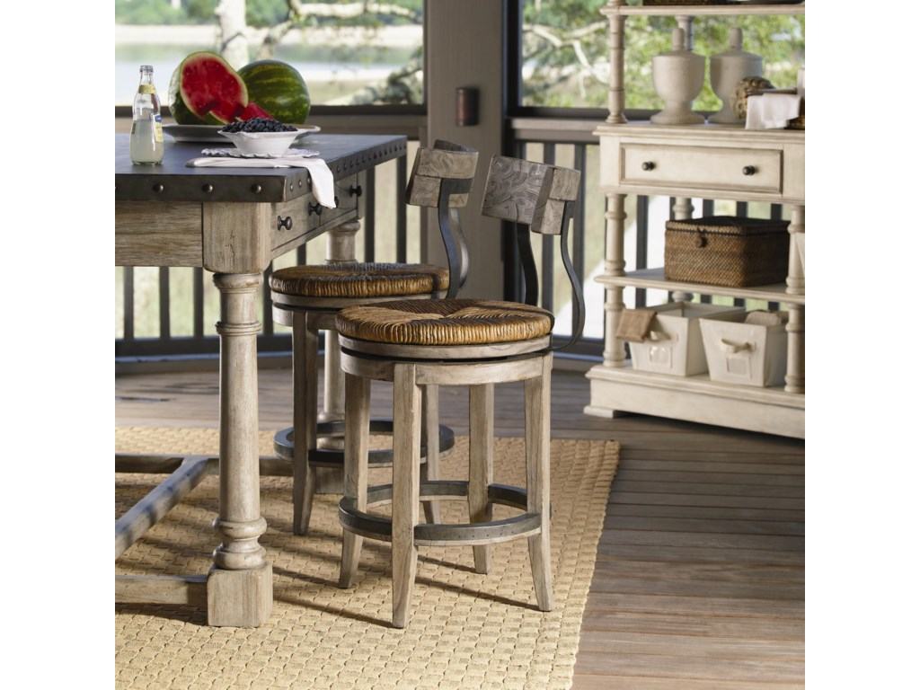 Shown with Shelter Island Bistro Table, and Merideth Console with Hutch in Antique Linen Finish