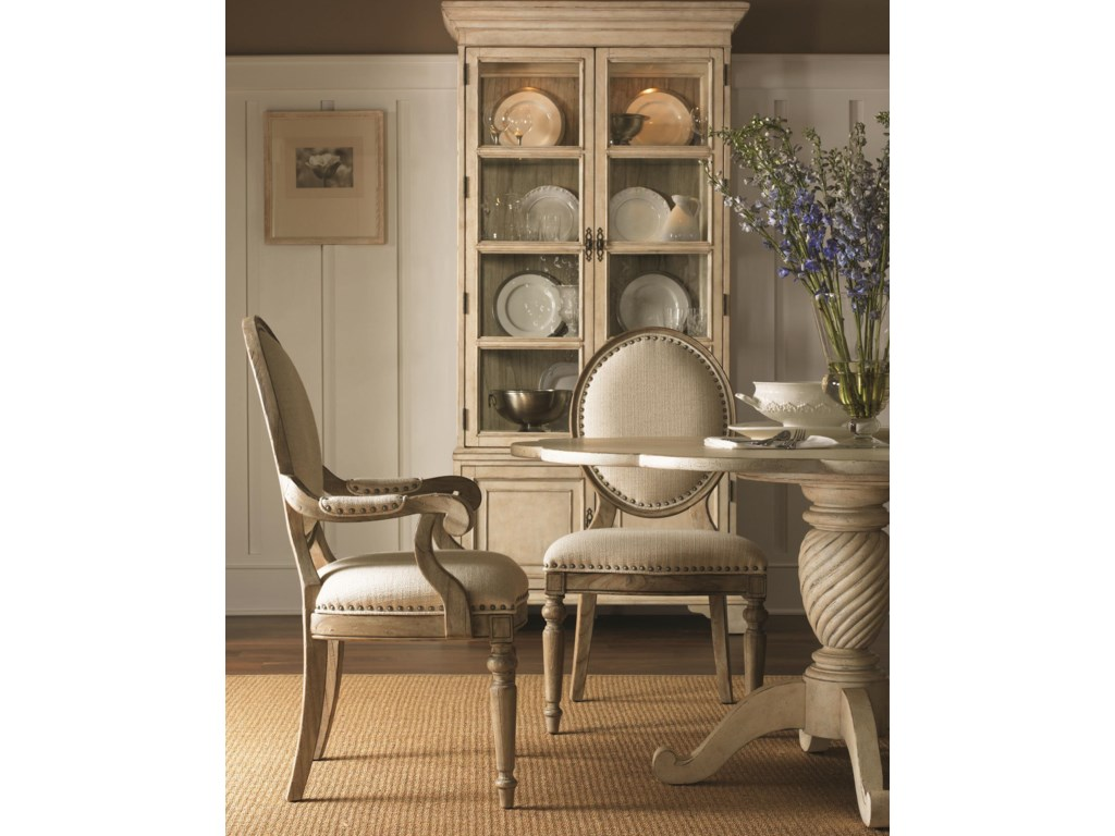 Shown with Byerly Arm Chair, Barrett Dining Table in Antique Linen Finish, and Pierpoint Display Cabinet in Antique Linen/Driftwood Finish