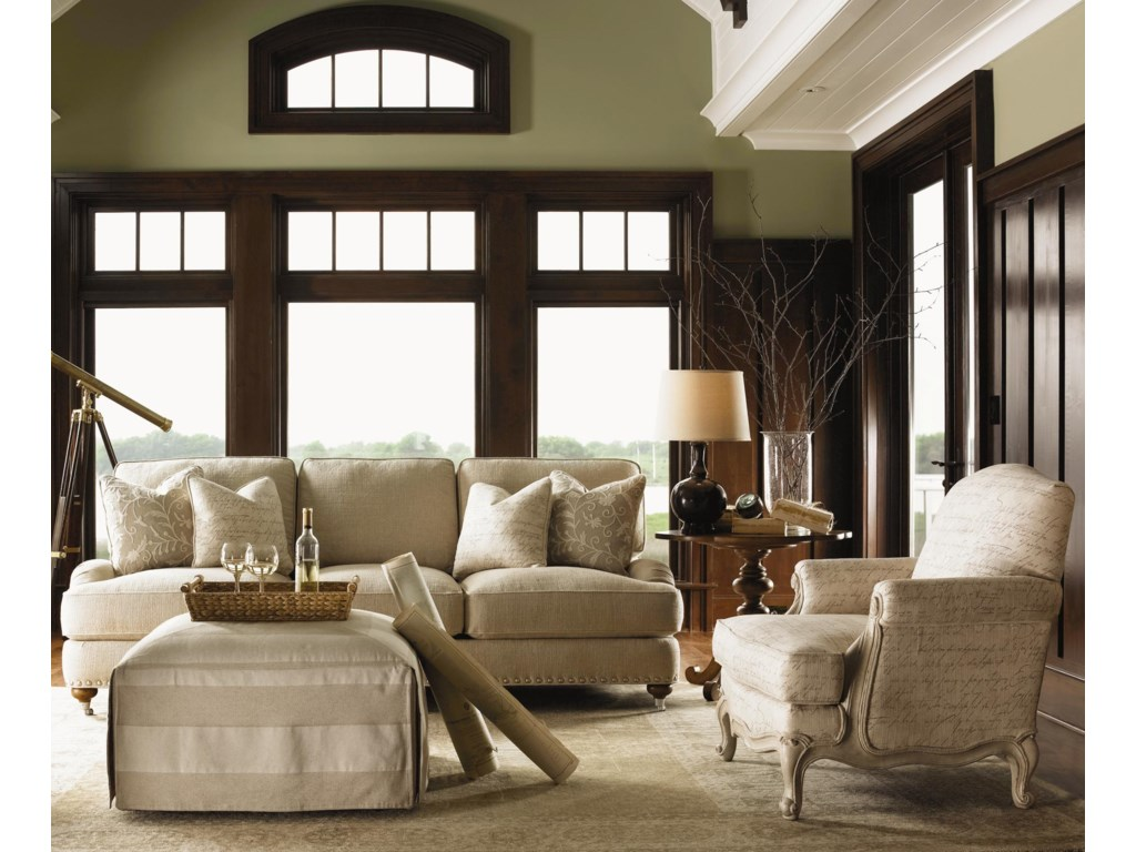 Shown with Jasmine Ottoman, Keaton End Table, and Abbey Chair