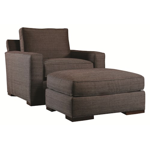 Lexington Urban Spaces - Bond Contemporary Chair and Ottoman with Block Wood Feet