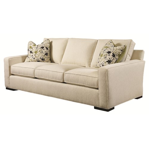 Lexington Urban Spaces - Bond Contemporary Sofa with Block Wood Feet