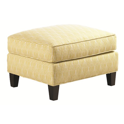 Lexington Urban Spaces - Conran Transitional Ottoman with Tapered Wood Legs
