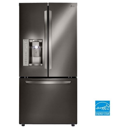 LG Appliances French Door Refrigerators- LG Black Stainless Steel 24.2. Cu.Ft. Ultra Capacity 3-Door French Door Refrigerator