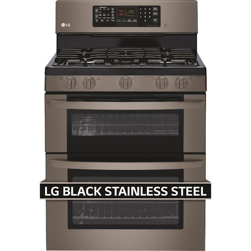 LG Appliances Gas Ranges- LG 6.1 Cu. Ft. Black Stainless Steel Series Gas Double Oven Range with Easyclean™
