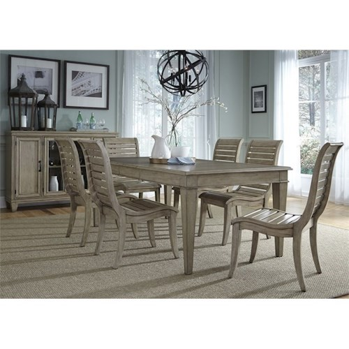 Liberty Furniture 573 7 Piece Leg Table Set  with Curved Slat Side Chairs