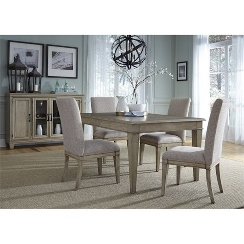 Vendor 5349 573 5 Piece Rectangular Table Set with Upholstered Side Chairs